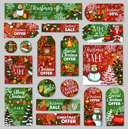 Christmas sale tag and winter holidays gift label Vector Illustration