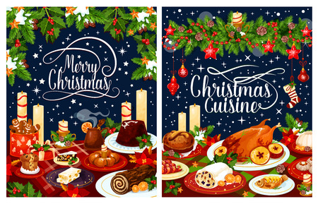 Christmas dinner poster with festive dishes.