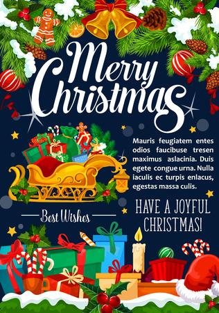 Christmas Santa geschenken en slee vector wenskaart