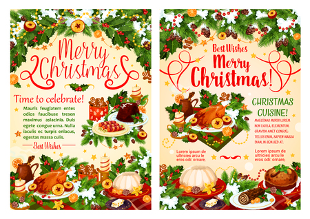 Christmas dinner festive dishes greeting banner of winter holidays.