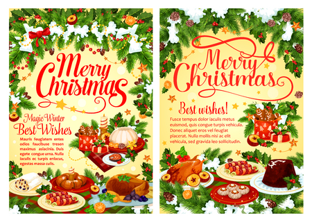 Christmas party festive dinner dish greeting card