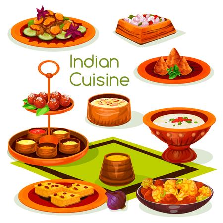 Indiase keuken lunch met traditionele Aziatische gerechten Stock Illustratie