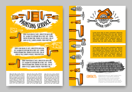 Repair and paint tool sketch poster of home renovation and interior design template. Hammer, screwdriver, spanner, paint brush and roller, wrench, axe and saw web banner for construction themes design