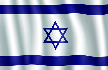 Israel flag 3d symbol with Star of David. National banner of State of Israel with blue hexagram on white background as symbol of Judaism. Waving israeli flag for patriotism and travel themes design