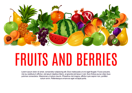 Fruit and berry poster of fresh farm product template. Orange, apple, pear and pineapple, banana, mango and peach, grapes, lemon and watermelon, kiwi, plum, melon and apricot fruit banner design Çizim