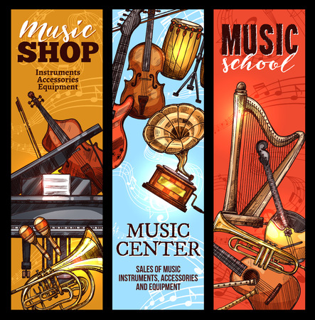 Musical instrument of classical and folk music banner set. Piano, guitar and drum, violin, trumpet and horn, maracas, flute and harp, cello and mandolin sketches for music concert or shop flyer design Illustration