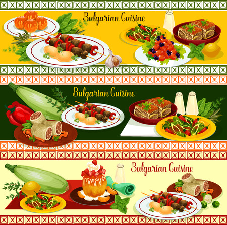 Bulgarian cuisine restaurant banner of dinner menu with main dishes and dessert. Beef kebab, vegetable casserole with cheese, tomato pepper stew, bean meat stew and cabbage roll, donut and rum cake Çizim