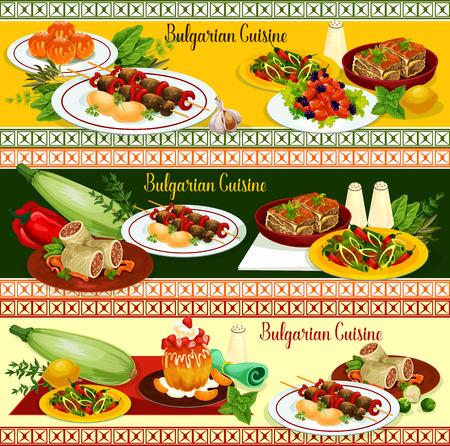 Restaurantfahne der bulgarischen Küche des Abendmenüs mit Hauptspeisen und Nachtisch. Rindfleischkebab, Gemüseauflauf mit Käse, Tomatenpfeffereintopf, Bohnenfleischeintopf und Kohl rollen, Donut und Rumkuchen Standard-Bild - 91358966