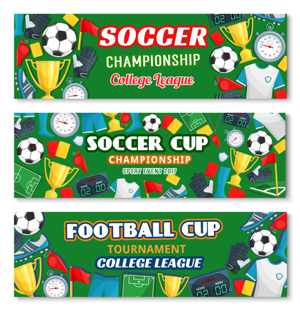 Soccer sport game championship competition and football cup tournament banner. Soccer ball, winner trophy cup and football stadium field, player uniform and goalkeeper glove for sporting flyer design