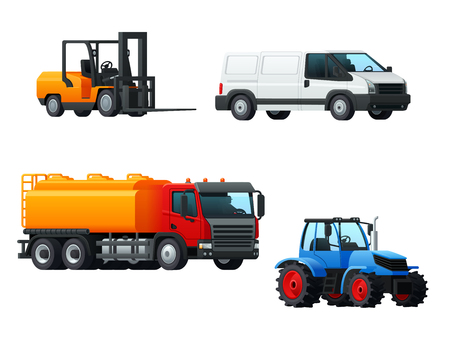 Transportation 3d icon set of road transport. Car or delivery van, tank truck, tractor and forklift truck symbol. Heavy motor vehicle for cargo transportation, delivery service and agriculture design