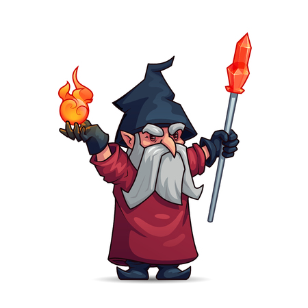 Old wizard or sorcerer cartoon character. Wicked magician with gray beard, magic staff, fire ball, hat and mantle. Merlin with magic items for Halloween, sorcery and alchemy themes design