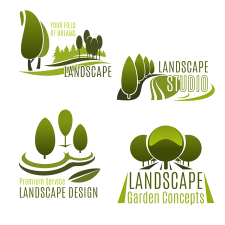 Landscaping company and gardening service icon set. Green nature symbol with tree, plant and grass lawn of eco park or city garden for landscape design studio and lawn care service emblem design