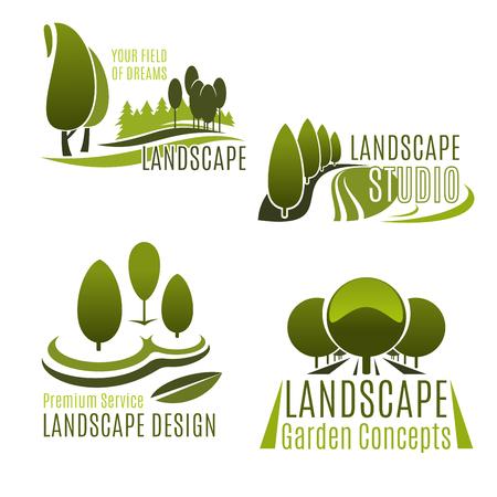 조 경 회사와 원 예 서비스 아이콘이 설정합니다. 나무, 식물과 잔디와 그린 자연 기호 조 경 디자인에 대 한 에코 파크 또는 도시 정원의 잔디 스튜디오 및 잔디 케어 서비스 엠 블 렘 디자인