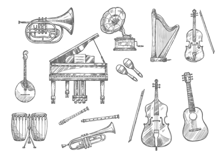 Musical instrument sketch set of classic, folk and jazz music. Piano, guitar and drum, violin, trumpet and flute, horn, maracas and harp, cello, mandolin and retro gramophone for music themes design Illustration