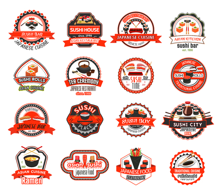 Collection of Asian cuisine restaurant badges. Set of Japanese restaurant emblem design