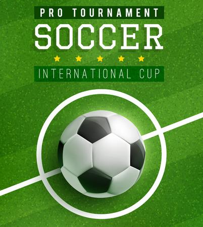 Voetbal in midden van voetbalveld poster sjabloon van internationale beker. Voetbal sport spel toernooi match banner met voetbal op groen gras van stadion veld voor flyer of ticket ontwerp