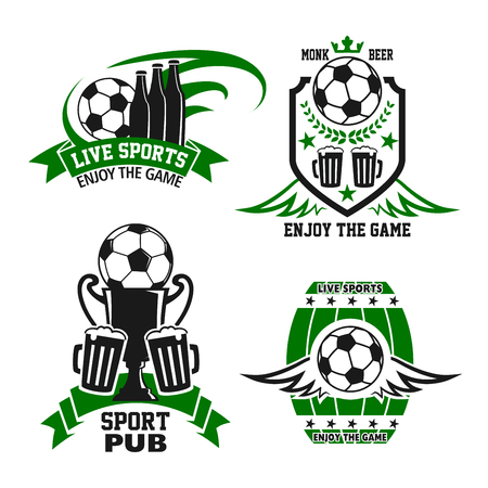 Sport bar badge with beer and football sport game items. Soccer ball, winner trophy cup and beer bottle or mug of alcohol drink symbol on shield and beer barrel with ribbon banner, star and wing
