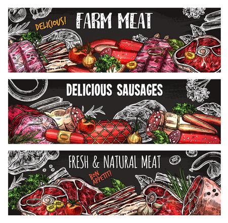 고기와 소시지 칠판 팜 시장 템플릿의 배너입니다. 쇠고기 스테이크 및 돼지 갈비, 살라미 소시지 및 베이컨, 햄, 양고기 등심 및 치킨 필렛 스케치 포