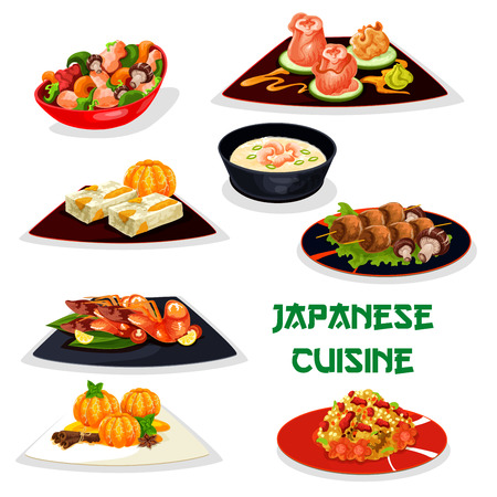 Japanese restaurant dinner dishes icon of asian cuisine. Meat rice, seafood soup and chilli shrimp, grilled chicken with mushroom and marinated ginger, teriyaki chicken with vegetable, fruit cake