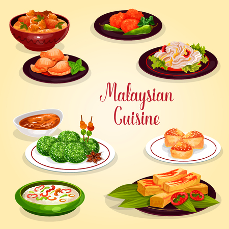 Malaysian cuisine icon of asian restaurant menu. Chicken vegetable stew, rice nasi lemak with veggies and chili sauce, meat pie, coconut dessert and prawn pancake, bean salad and vanilla sponge cake Illustration