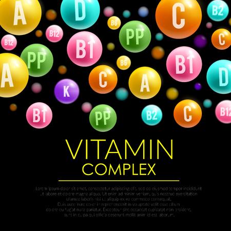 ビタミンの丸薬の複雑な 3 d ポスター。