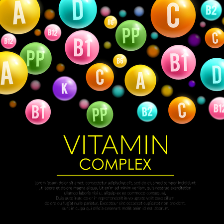 Vitamin pills complex 3d poster. Illustration