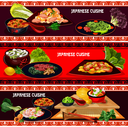 Japanese cuisine restaurant dinner menu banner set. Fried rice with teriyaki beef, spicy pork noodle, rice with vegetable, eel fish and marinated ginger, seaweed soup kale with tofu cheese Illustration