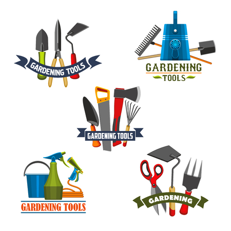 Gardening tools and equipment icon set. Rake, shovel and watering can, fork, spade and bucket, trowel, pruner and cutter, saw, axe and spray bottle symbol with ribbon banner for garden work design Illustration