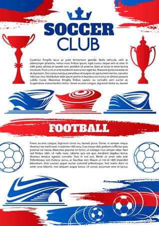 축구 클럽 템플릿의 축구 스포츠 게임 배너입니다. 축구 경기장 또는 축구 스포츠 경기장 포스터 공, 승자 트로피 컵 및 텍스트 레이아웃 축구 경기 또