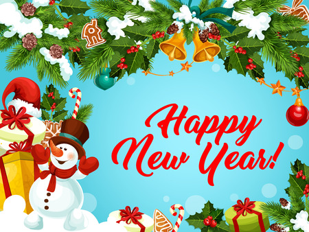 New Year vector greeting card decorations gifts Illustration