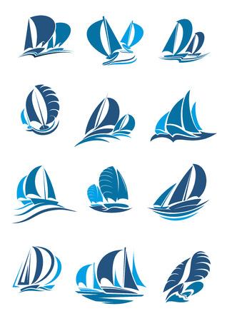 Żaglówka, jacht i zestaw ikon żaglówkę. Żaglowiec pod pełnymi żaglami z falą i rozpryskami niebieska sylwetka statku wodnego do sportów żeglarskich, regat, wyścigów żeglarskich i godła klubu jachtowego
