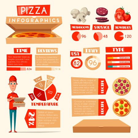 Pizza infographic template. Comparison chart and graph of italian and american fast food.