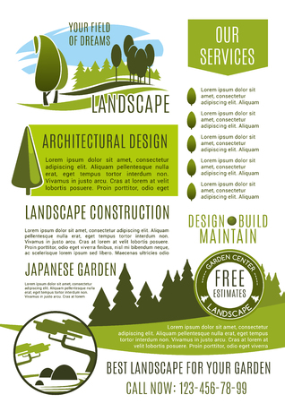 Landscape design company business banner template. Landscaping maintenance, lawn care, landscape architecture and gardening service poster with green tree and decorative plant for advertising design Illustration