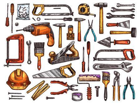 Werkzeug für Bau- und Reparaturarbeiten Skizzensatz. Hammer, Schraubendreher und Schraubenschlüssel, Zange, Schraubenschlüssel, Pinsel und Rolle, Bohrmaschine, Säge, Kelle und Schraube, Maßband, Helm und Schraubstock