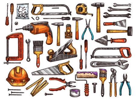 Tool for construction and repair work sketch set. Hammer, screwdriver and wrench, pliers, spanner, paint brush and roller, drill, saw, trowel and screw, tape measure, helmet and vice equipment design