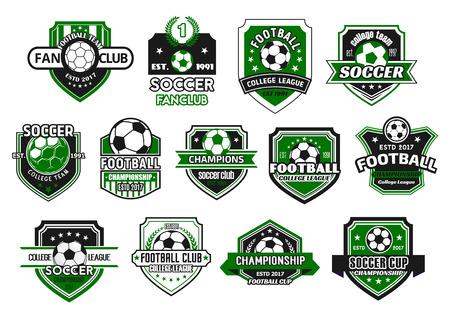サッカースポーツクラブとサッカーチームシールドバッジセット。サッカー選手権とサッカーファンクラブのデザインのためのチャンピオンリース