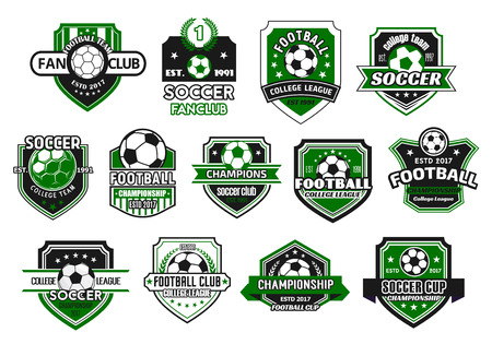 Soccer sport club and football team shield badge set. Soccer ball on heraldic shield, decorated with champion wreath, ribbon banner and star for football championship and soccer fan club design
