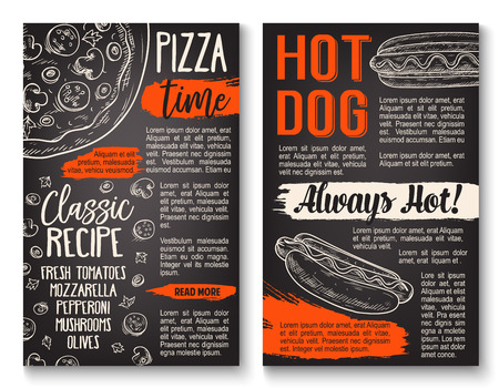 Fast food pizza and hot dog sandwich chalkboard poster. Italian pizza topping and hot dog ingredient menu template with tomato, olive and cheese, sausage, mushroom and sauce. Chalk sketch on blackboard
