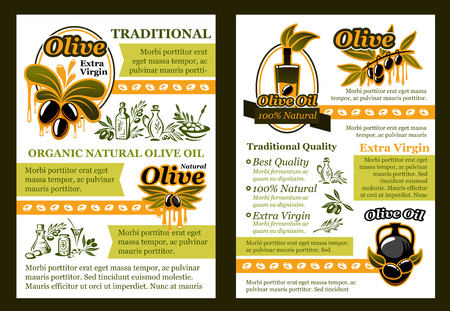 Olive oil natural product poster template. Pickled olive fruit and extra virgin olive oil bottle poster with badge of green branch with ripe black fruit and oil drop for healthy food brochure design Illustration