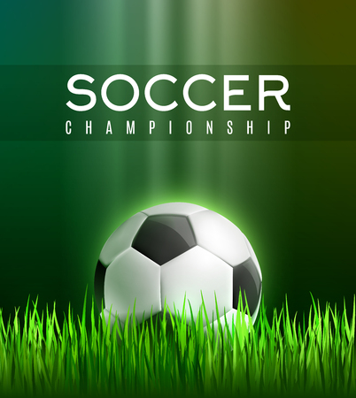 Soccer sport championship 3d poster. Football play field with green grass and soccer ball for football sport game competition, event and soccer tournament match. Announcement banner design. Illustration
