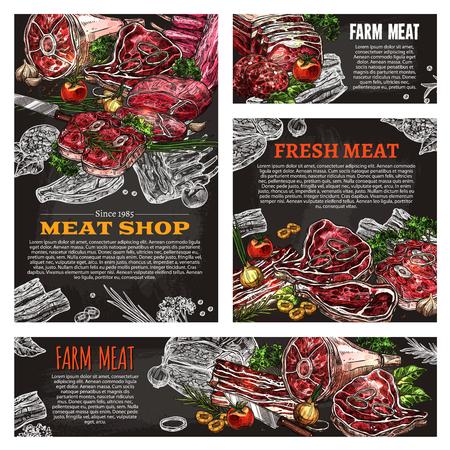 신선한 고기 제품 칠판 고기 숍의 배너입니다. 정육점 디자인 포스터입니다.