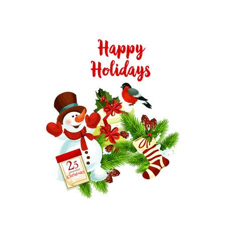 Merry Christmas wens belettering voor wintervakantie seizoen wenskaart. Vectorpictogram van sneeuwman met giftkousen en 25 December-kalender of goudvink op Kerstboom, hulstkroon.