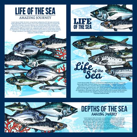 深海魚や海洋動物のスケッチを持つ海生活バナー テンプレート。サーモン、マグロ、サバ、コイ、スズキやシーフード メニューや釣りツアー デザ