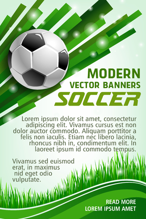 Football sport game banner with soccer ball. Green grass of football stadium field and soccer ball poster for sporting competition and championship match web banner design Vectores