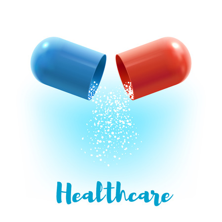 Open capsule pill with fall out granules 3d illustration. Healthcare poster with blue and red hard shells of capsule with medication inside for medicine. Pharmacy and prescription drugs themes design.