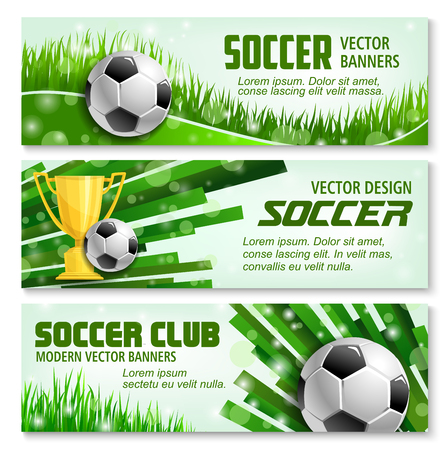 Soccer sport club 3d banner with ball and golden trophy. Football winner cup with soccer ball on green grass of stadium field for football championship match or soccer league tournament design