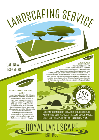 Landscaping service business banner template with green tree and plant. Landscape architecture company advertising poster for landscape design, park and garden planning. Landscaping maintenance design.