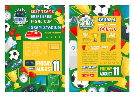 Football sport tournament final match banner template. Soccer game championship poster with frame of ball, trophy, football stadium field, and more.