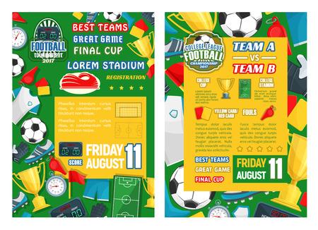 Sjabloon voor spandoek laatste wedstrijd voetbaltoernooi. Voetbal game kampioenschap poster met frame van bal, trofee, voetbalstadion veld en meer.