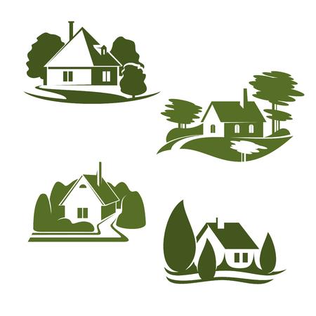 Lokalisierter Ikonensatz Eco grünes Haus. Grünes Hauptsymbol Eco-Stadt mit Hinterhofgarten-, Baum- und Grasrasen für Ökologielandschaftsdesign und umweltfreundliches Immobilienfirmenemblemdesign Standard-Bild - 91365127